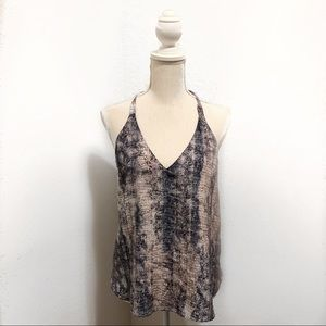 Rory Beca Snake Print Cross Back Silk Tank Top
